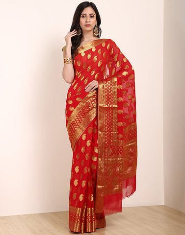 MBZ Meena Bazaar-Art Chiffon Saree with Border Booti
