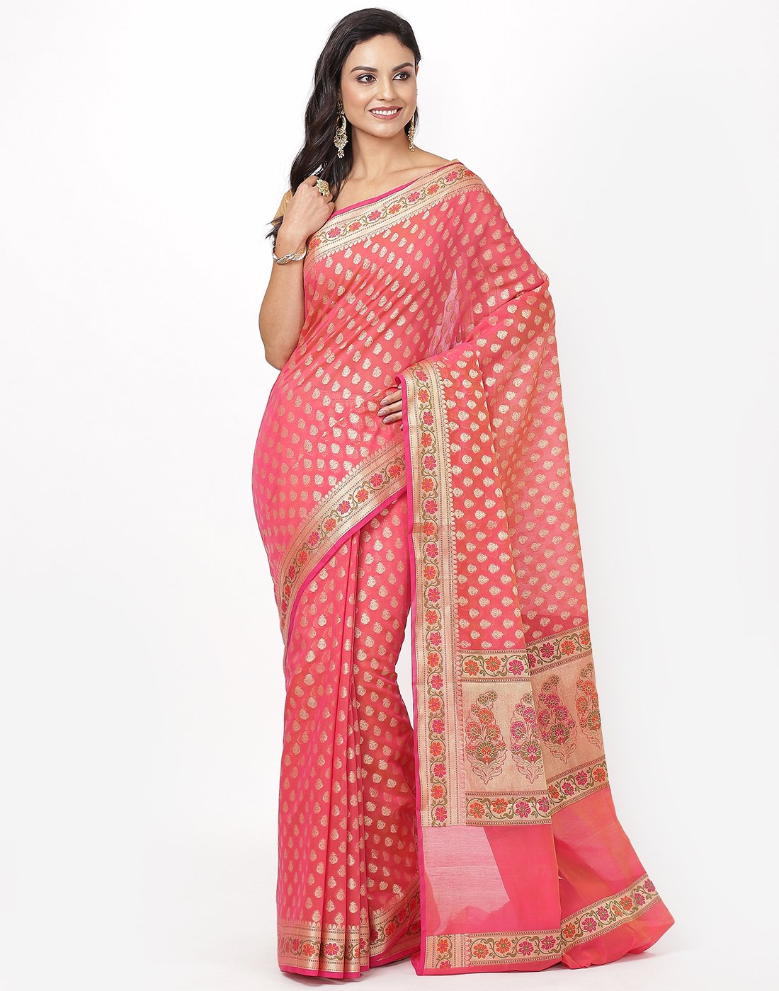 Hot Pink Cotton Woven Saree