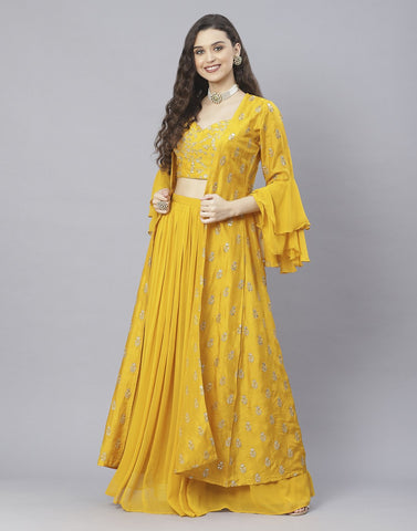 Mustard and Pink Art Crepe Salwar Kameez