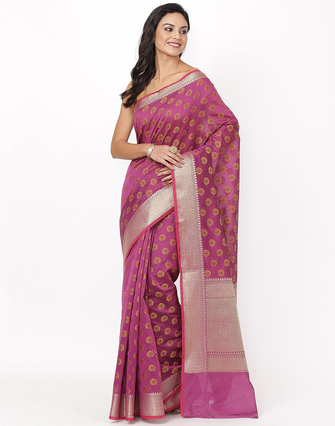 Purple Cotton Woven Saree