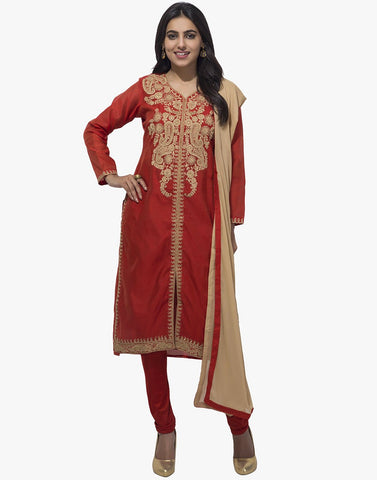 MBZ Meena Bazaar-Red Cotton Chanderi Stitched Salwaar Kameez