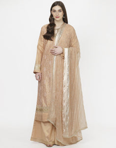 MBZ Meena Bazaar-Beautiful Peach Cotton Tissue Stitched Salwar Kameez