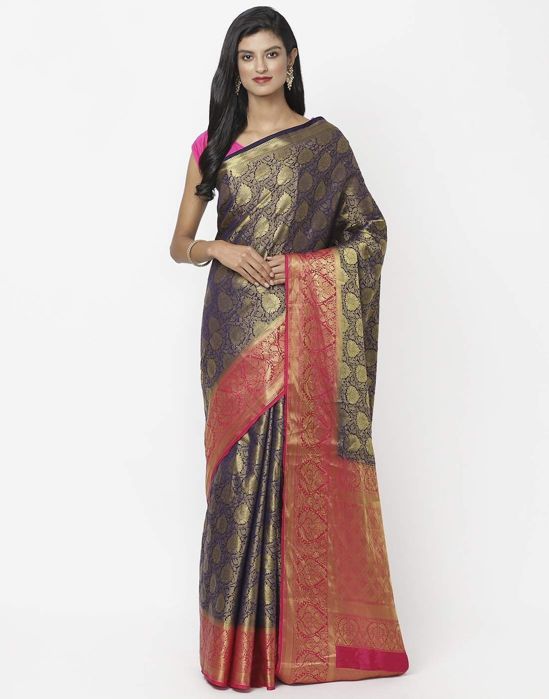 Navy Blue Art Handloom Saree