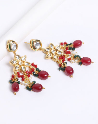 Kundan Earrings with Green and Ruby Stone