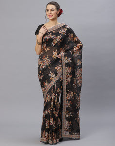 Black Floral Printed Kora Saree