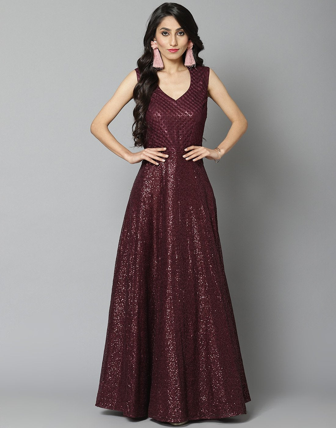 Elegant Wine Long Net Dress