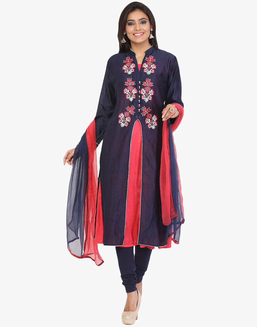 Semi-Stiched Floral Thread Embroidered Cotton Chanderi Achkan Suit By Meena Bazaar
