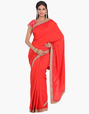 Embroidered Handloom Silk Saree With Ready Blouse By Meena Bazaar
