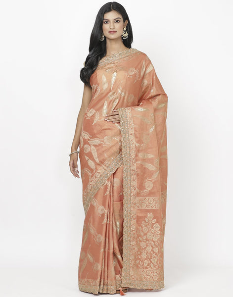 Peach Banarasi Tissue Saree