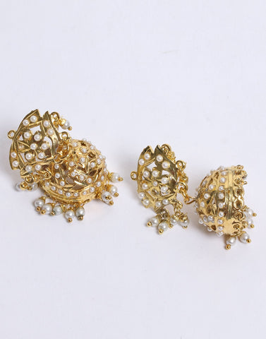 Beautiful Gold Plated with White Stone Jhumki