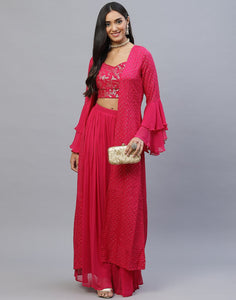 Maroon, Rani and Navy Blue Handloom Dupion Salwar Kameez with Shrug