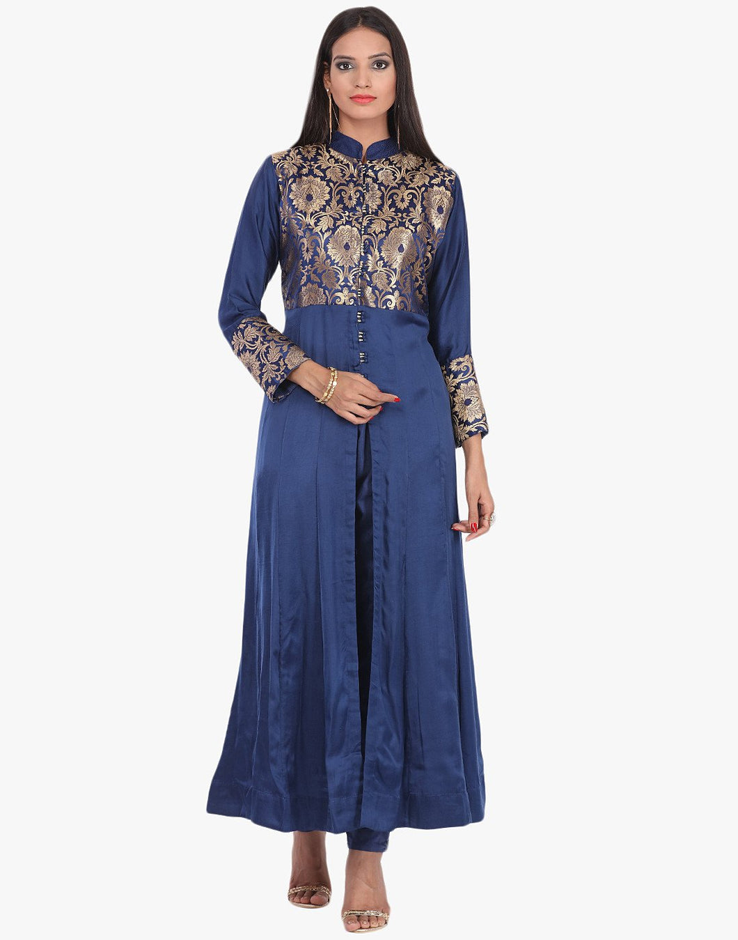 Semi-Stitched Floral Brocade Cotton A-line Suit With Pants By Meena Bazaar