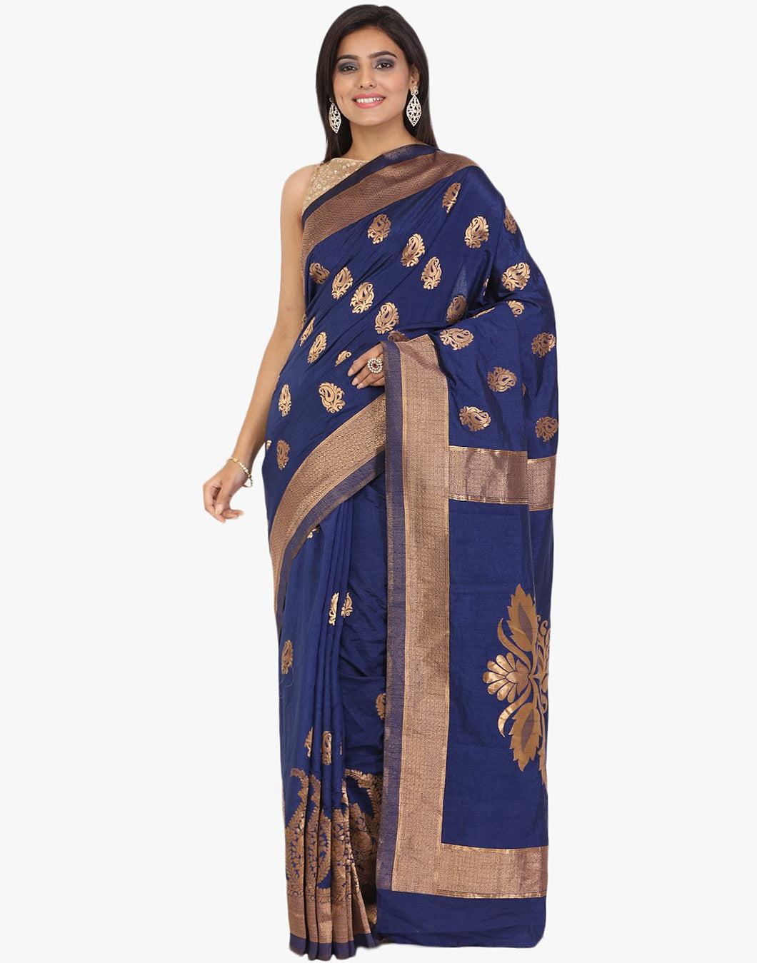 Handloom Silk Saree With All-over Woven Zari Paisley Booti By Meena Bazaar