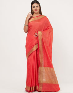 MBZ Meena Bazaar-Hot Pink Art Handloom Saree