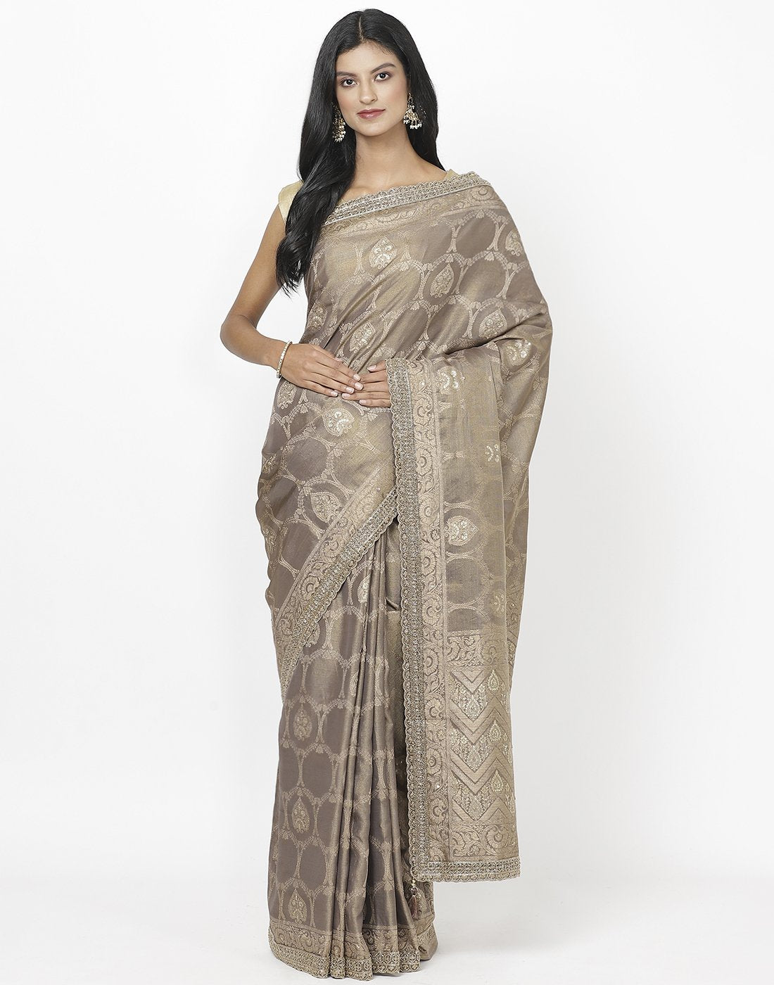 Grey Banarasi Tissue Saree