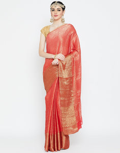 Red Georgette Woven Saree