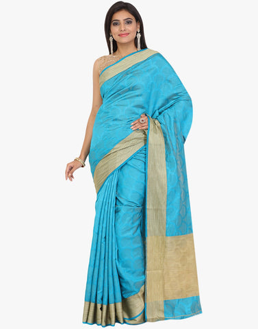 Self Jacquard Handloom Silk Saree With Resham Woven Border By Meena Bazaar