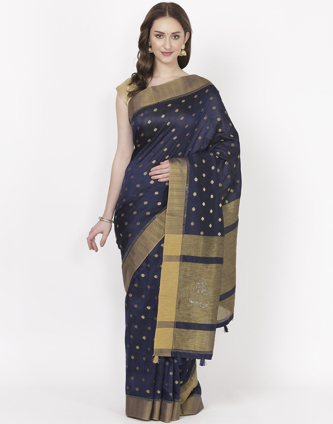 MBZ Meena Bazaar-Navy Blue Art Tussar Saree