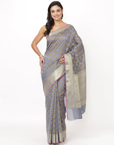 Grey Cotton Woven Saree