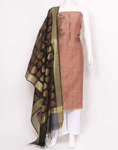 Peach Black Chanderi Suit Set