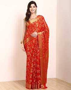 MBZ Meena Bazaar-Red Art Crepe Saree