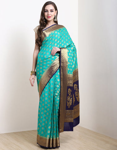 MBZ Meena Bazaar-Sea Green Art Handloom Saree