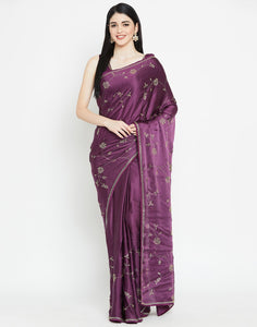Wine Satin Saree