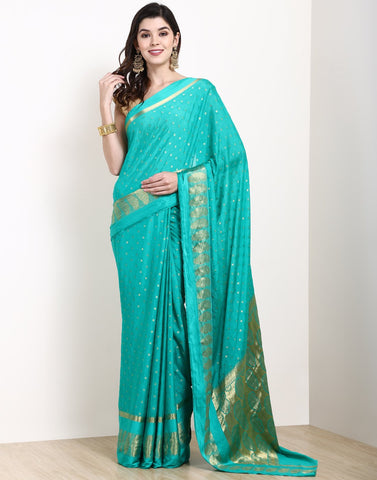 Sea Green Art Crape Saree