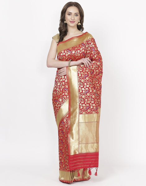 MBZ Meena Bazaar-Red Banarasi Art Handloom Saree