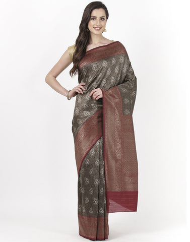 Black Banarasi Art Handloom Saree