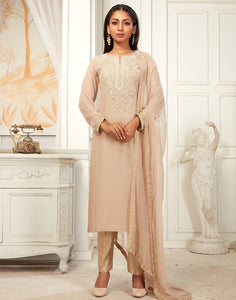Georgette Kurta Brocade Pant Set