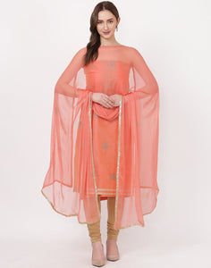 MBZ Meena Bazaar-Peach Pink Chanderi Suit Set