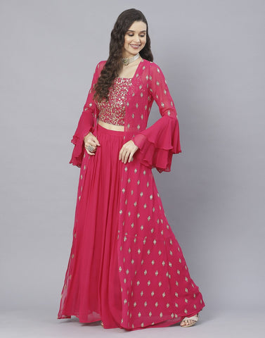Rani Georgette Salwar Kameez with Shrug