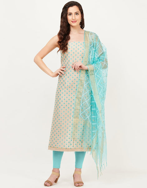 MBZ Meena Bazaar-Beige Sea Green Chanderi Suit Set