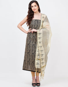 MBZ Meena Bazaar-Black Beige Chanderi Suit Set