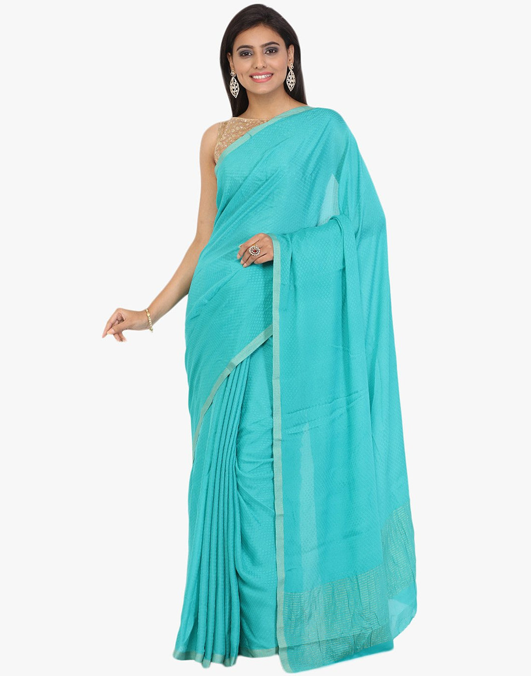 Self Textured Crepe Woven Saree With Zari Border By Meena Bazaar
