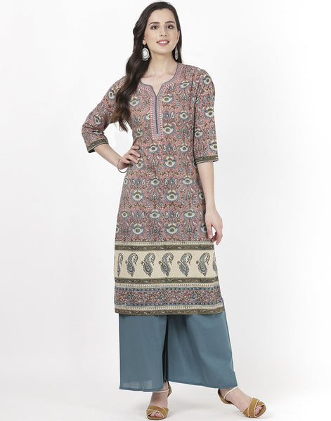Pink Teal Blue Cotton Kurti with Palazzo