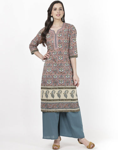 MBZ Meena Bazaar-Pink Teal Blue Cotton Kurti with Palazzo