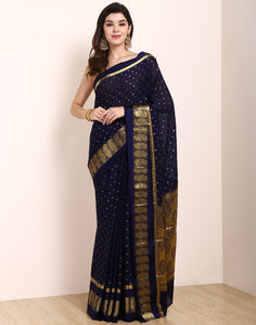 Navy Blue Art Crape Saree