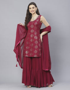 Bottle Green and Wine Art Crepe Salwar Kameez