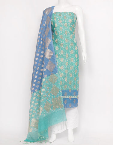 Sea Green Blue Cotton Chanderi Suit Set