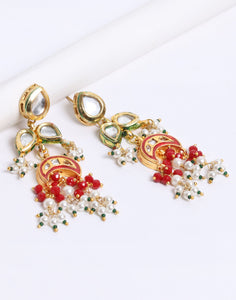 Kundan Plated Earrings with Maroon Drop