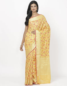 Orange Cotton Woven Saree