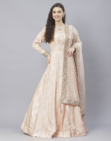Peach, Sky Blue and Yellow Cotton Chanderi Anarkali Salwar Kameez