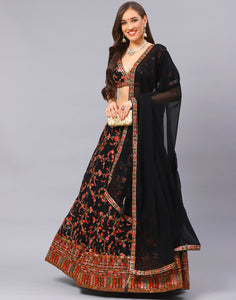 Black Lehnga Piece