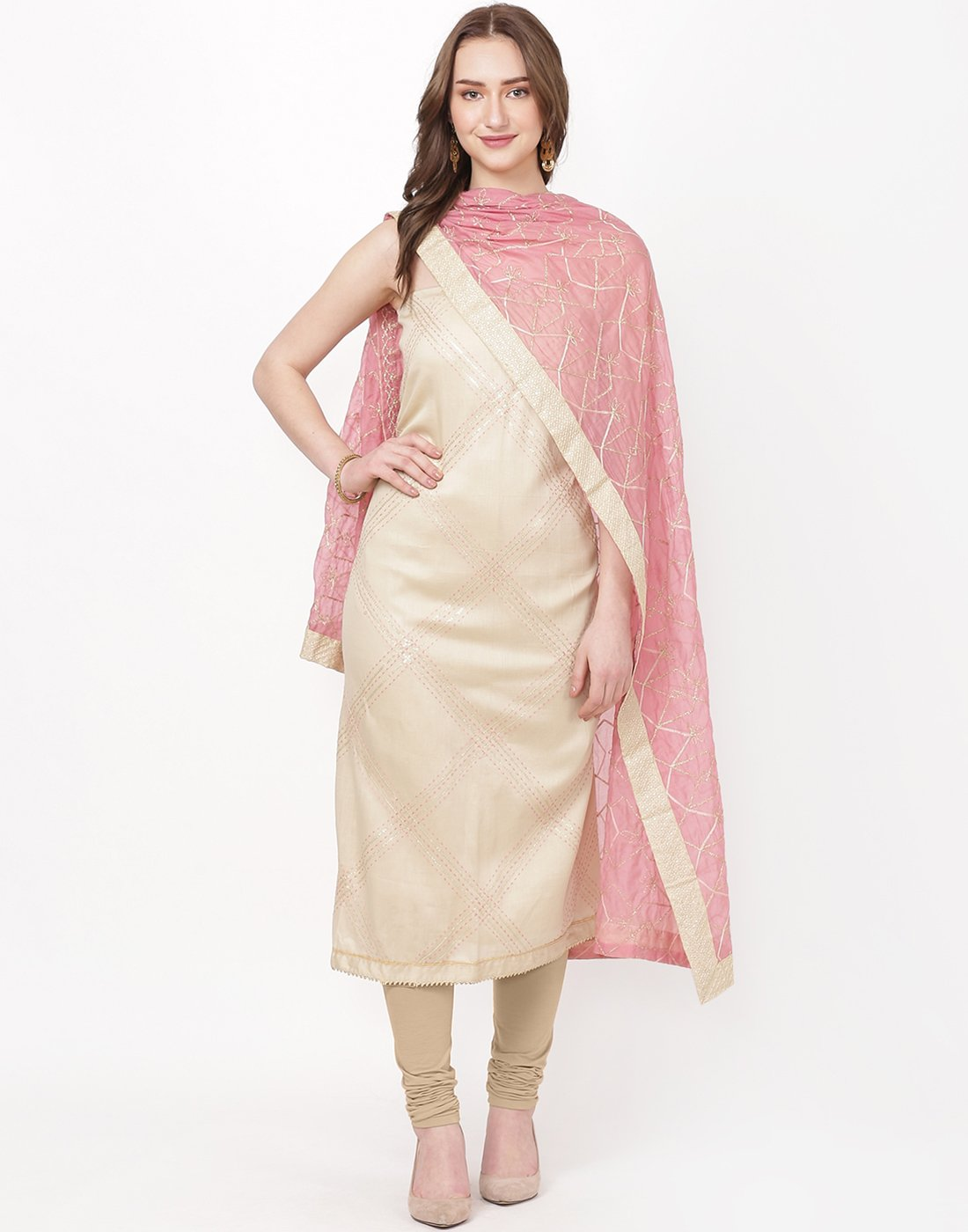 Beige Pink Cotton Suit Set