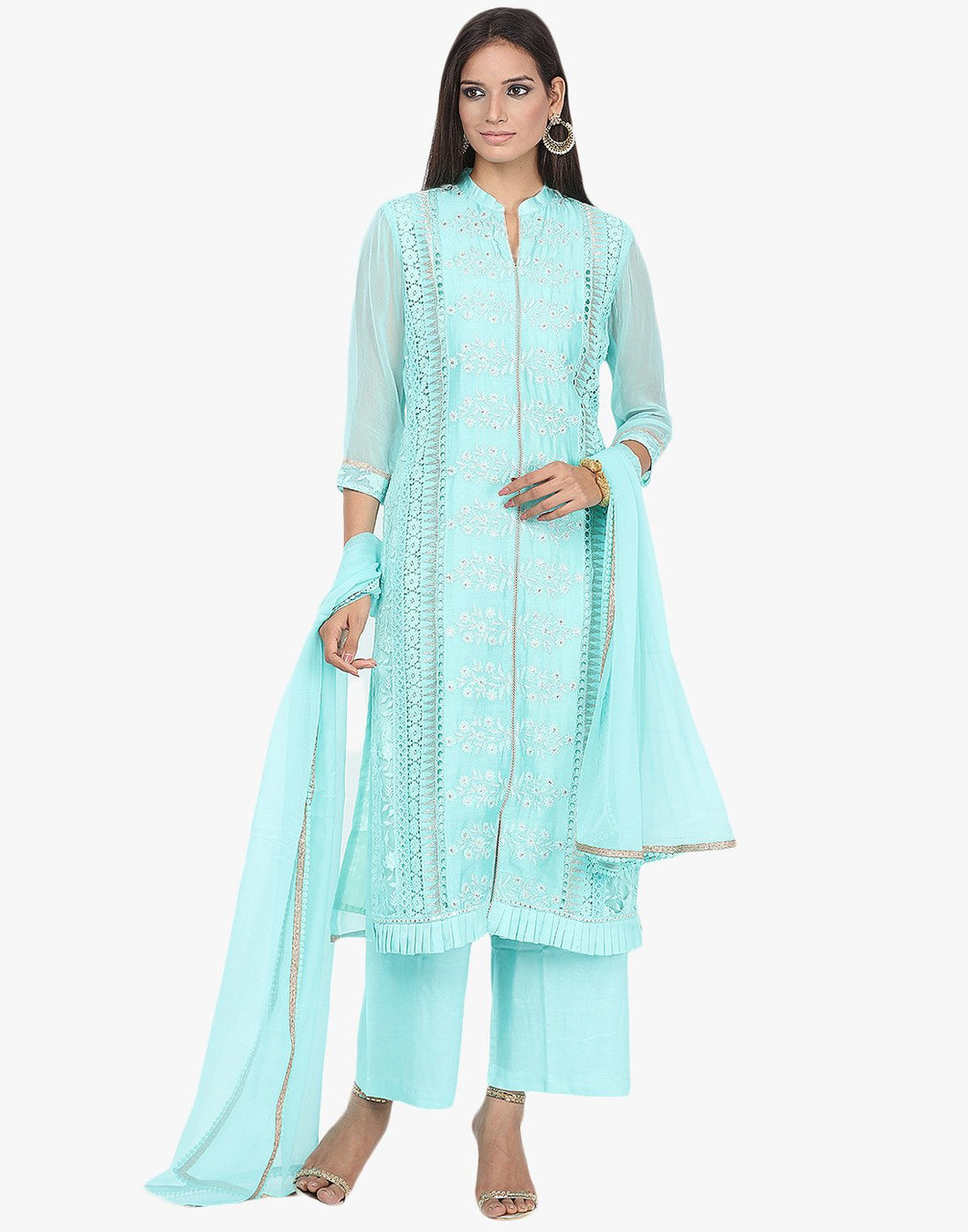 Unstitched Embroidered Georgette Suit By Meena Bazaar