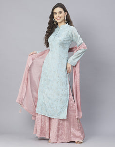 Aqua Blue and Pink Art Crepe Salwar Kameez