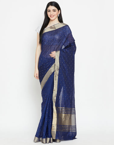 Navy Blue Art Handloom Dupion Saree