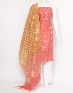 Coral Mustard Cotton Chanderi Suit Set